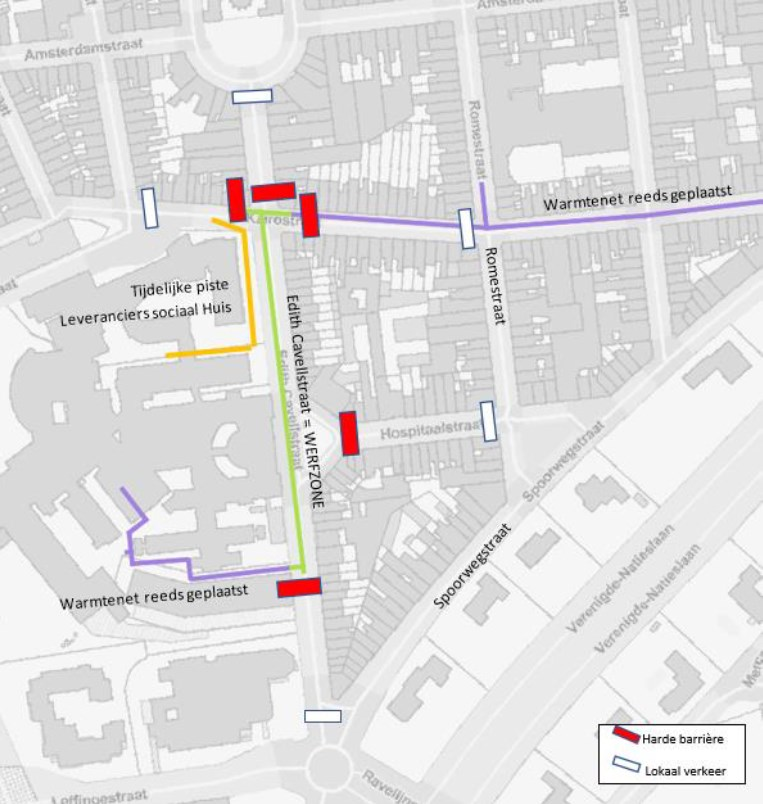 Tijdens de werken wordt de Cavellstraat voor alle verkeer afgesloten. De omgeving van de werken wordt beperkt tot lokaal verkeer. Waar nodig wordt tweerichtingsverkeer geïnstalleerd om de wijk maximaal toegankelijk te houden.